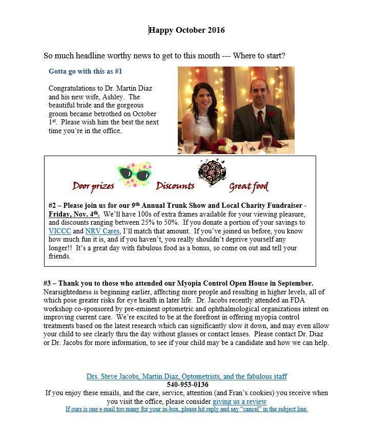 Oct 2016 Newsletter